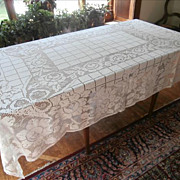 SOLD 1920s Net Lace Tablecloth Vintage Roses Knotted Lace 88 x 67