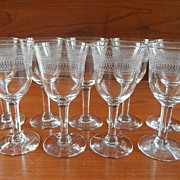 Sherry Glasses Needle Etch Stemware Vintage Set 9