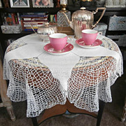 SOLD Round Crocheted Lace Tablecloth Console Doily Set Vintage - Red Tag Sale Item