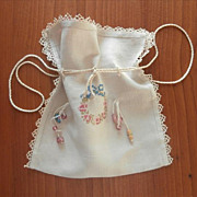 SOLD Wedding Cake Glass Beads Linen Embroidery Vintage Scrap Bag or Purse - Red Tag Sale Item
