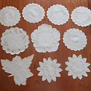 SOLD Silk Embroidery Antique Linen Doilies Some Society Type