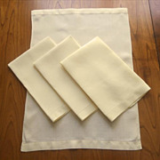 Towels 4 Yellow Linen Hand Towels Vintage 1940s Set Simple