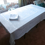 Blue Set Napkins Tablecloth Vintage Blue Pretty Rayon Cotton Damask