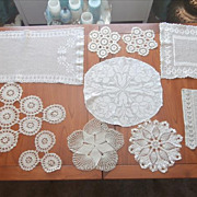 SOLD All Ecru Vintage Crocheted Lace Doilies Runner Tray Cloth Etc - Red Tag Sale Item