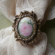 Ring Hand Painted China Vintage 1960s Pink Rose