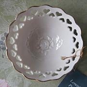 Lenox Pierced Heart Bowl Original Tag Vintage China Rose Cream Gold