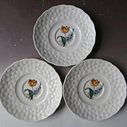 Spode Tulip Alden Daisy 3 Saucers Hand Painted Vintage China