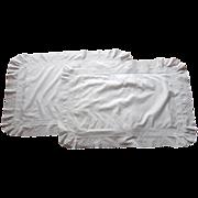 Pair Pillow Shams Antique Eyelet Ruffle Trousseau Fit Standard Pillows
