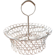 Wire Work Flower Pot Holder Basket Vintage Painted Metal