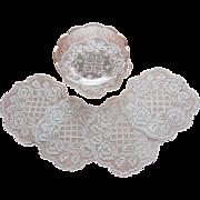 1920s Filet Net Lace Finger Bowl Doilies Vintage 5
