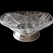 SOLD Art Deco Sterling Etched Crystal  Relish Dish Duncan Miller Passion Flower Vintage