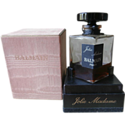 Balmain Jolie Madame Rare 2 Ounce Vintage Perfume Bottle  Box Glass Stopper