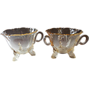Heisey Sahara Empress Creamer Open Sugar Bowl Vintage Yellow Glass