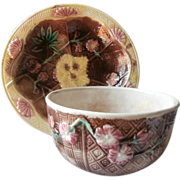 Majolica Bowl Pair Basket Weave Pink Flowers Antique Victorian