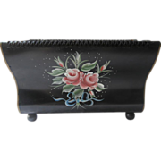 SOLD Tole Painted Magazine Rack Vintage Metal Black Pink Roses Blue Bow