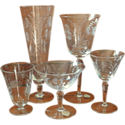 Cut Crystal Stemware Set Vintage Hungarian Wedding Wine Iced Tea 34 Pieces
