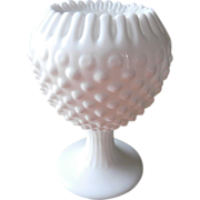 Fenton Ivy Bowl Vase Milk Glass Hobnail Crimped Rim Pedstal Rose Bowl