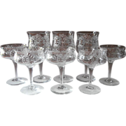 SALE PENDING 1910s Etched Crystal Stemware Antique Transitional TLC Wine Glasses Coupes