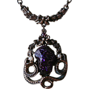 Victorian Revival Drop Necklace Vintage Purple Stone Snakes Antiqued Finish