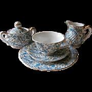 Lefton Blue Paisley Cup Saucer Plate Creamer Sugar Bowl Vintage China