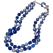 All Glass Necklace 2 Strand Beads Blue Vintage Late 1950s