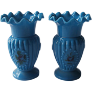 Pair Bristol Glass Tiny Vases Turquoise Blue Antique Ruffled