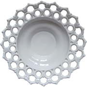 SOLD Lace Rim Big Milk Glass Centerpiece Bowl Vintage Lacy
