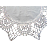 SOLD Unusual Crocheted Lace Edging Centerpiece Antique Round Tablecloth Topper