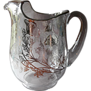 Sterling Silver Overlay Glass Pitcher Silver City Flanders Vintage