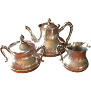 Victorian Tea Set Silver Antique Teapot Creamer Sugar Bowl