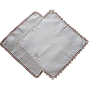 2 Tatted Lace Irish Linen Hankies Hankie Vintage Original Labels