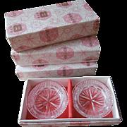 Cut Crystal Ashtrays Vintage Bohemian Glass Ashtray Sets Original Boxes