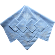 Tea Tablecloth Set Blue Linen Vintage Hand Embroidery Monogram M.N.F.