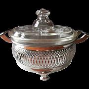 1910s 1920s Pyrex Farberware Casserole Vintage Etched Glass Chrome