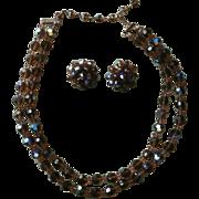 Brown AB Cut Crystal Beads Vintage Necklace Earrings Set