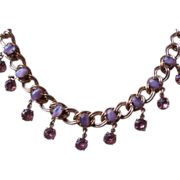 Purple Glass Stones Vintage 1950s Necklace
