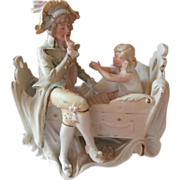 Rare Bisque Heubach Figurine Antique French Gentleman Toddler Cradle