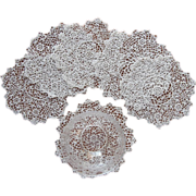 Irish Crochet Lace Doilies Antique Set 6 Finger Bowl Size