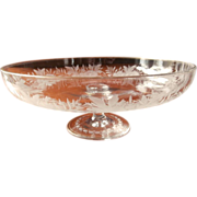 Bohemian Engraved Gilded Glass Pedestal Compote Antique Dish