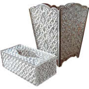 Waste Basket Tissue Holder Set Vintage 1960s Vanity Powder Room  Plastic Trelawney Faceted