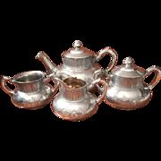 Victorian Tea Set Tufts Antique Silver Assyrian Teapot 4 Pieces
