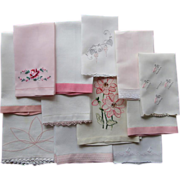 12 Vintage Towels Pink On All Vintage Embroidery Madeira Linen 1910s to 1950s