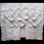 Tablecloth Set Antique 1910s Linen Filet Crocheted Lace 10 Napkins Tea