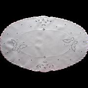 SOLD Cutwork Linen Centerpiece Butterflies Antique Hand Embroidery