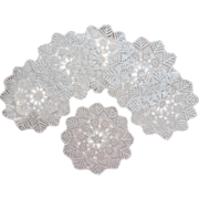 SOLD Dessert or Salad Plate Doilies Finely Crocheted Lace Antique 1910s