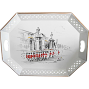 Nashco Tole Tray Buckingham Palace Guards Vintage Red Black White