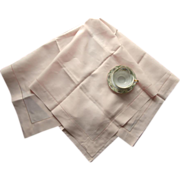 Pink Linen Tea Tablecloth Never Used Vintage Irish Linen Luncheon Tea Square Pale Ice Pink
