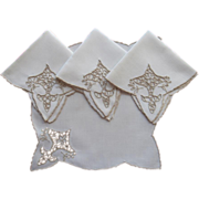 SOLD Tea Napkins Bridge Vintage Madeira Linen Ecru Cutwork Embroidery