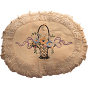 SOLD 1920s Pillow Lace Hand Embroidery Basket Flowers Bow Roses