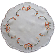 SOLD 1920s Hand Embroidered Centerpiece Doily Linen Orange Yellow Green